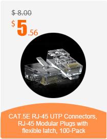 CAT.5E RJ-45 UTP Connectors, RJ-45 Modular Plugs with flexible latch, 100-Pack