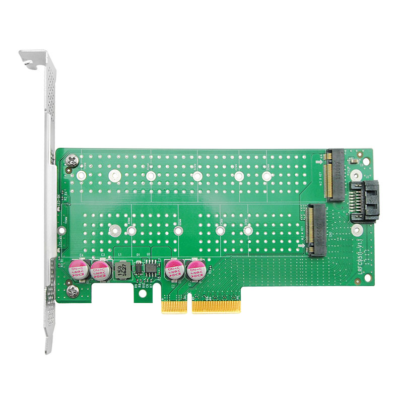 NVMe SSD Adapter Card, PCIe x4 to 2x M.2 NVMe connectors
