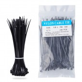 Nylon Zip Ties(100 pcs), 4 x 0.1 inch, Black, UL Certified