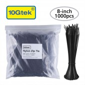Zip Ties (1000pcs) Self-Locking 8 Inch Nylon Cable Ties, Black, UL Certificated