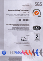 10Gtek IS014001 Certification